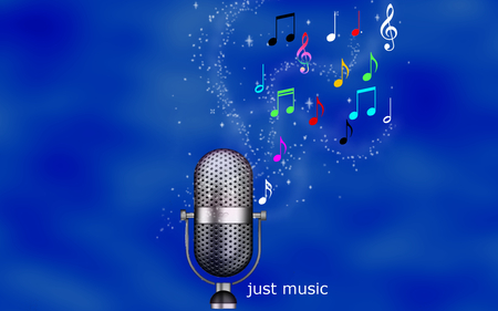 Just Music - colorful, entertainment, jacqeline, magic, jacqelinela, just music, musical notes, blue, colors, music, microphone, beauty, beautiful, lovely, sheet, fantasy, stars, girl, pretty, mrophone