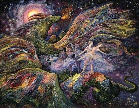 Josephine Wall 'Dragon Dancers' - dancers, josephine, dragon, sea, faerie, fantasy, moon, butterfly, bubbles, andromeda, fairy, art, wings, ocean, unicorn, colors, wall