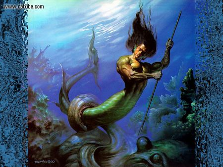 Merman against Octopus - octopus, fish, boris, julie, man, bell, spear, fight, valejo