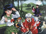 Inuyasha and others at river
