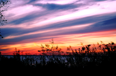 Mobile Bay Sky At Sunset - skies, purple, mobile, sunset, sky, bay, blue