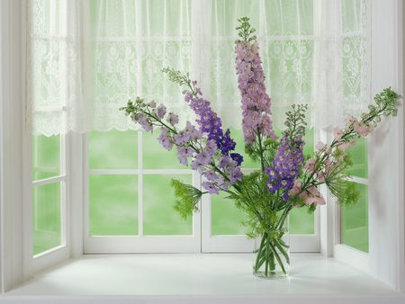A Sunday Afternoon - flowers, purple, lace, window, vase, curtains, lilacs