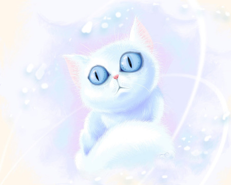 Cartoon Cat - cat, cartoon, white