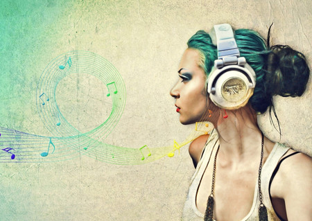 Just Music - art, life, music, ear phones, headphones, abstract, woman, hair, fantasy, song, girl, entertainment, beauty, musical notes, lady