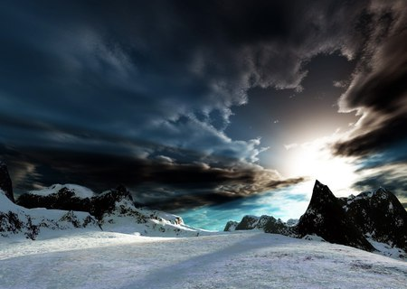 Winter Sunrise - white, wonderful, tranquility, sun, amazing, winter, awesome, calm, rocks, sunrise, sunset, blue, sky, water, peak, nice, mountains, nature, cool, beauty, beautiful, iceberg, snow, fabulous, ice, icy, mount