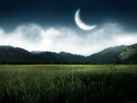New Moon - fields, grass, photography, grasslands, wonderful, tranquility, abstract, amazing, moon, night, awesome, landscape, sky, nice, mountains, nature, photoshop, cool, beauty, beautiful, fantasy, fabulous, clouds, green, new
