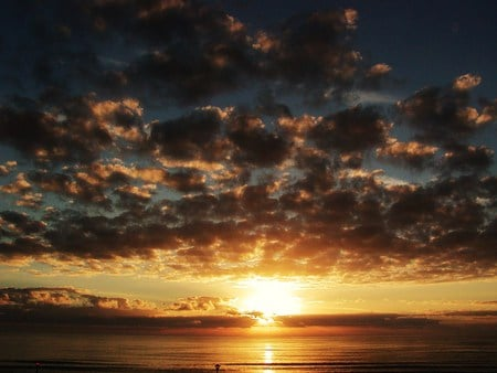 The Calm Sunset of the Day  - sunset, beach, clouds