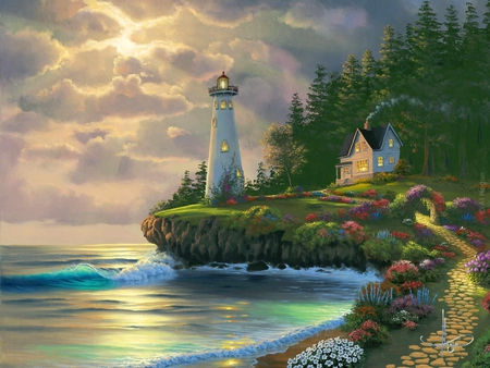 Returning Home - waves, sea, flowers, house, forest, lighthouse, clouds, beach, sky, sunset, trees