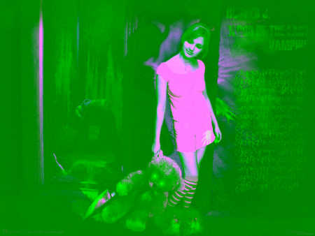 Blood of the last Vampire - emo, green, girl, photoghaphy, dark, negitive, teddy bear