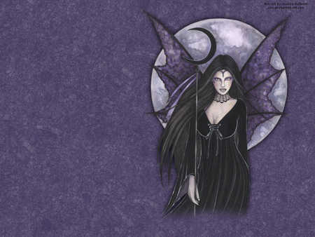 Dark Moon Fairy - pretty, wings, fae, cresent moon, faerie, moon, purple, gothic, dark fairy, fairy