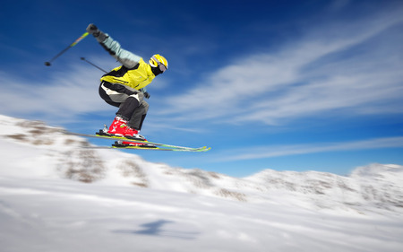 Extreme Skiing - ski, skies, blue, skiing, mountains, snow, air time, winter, clouds, extreme
