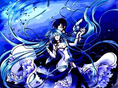 Cantarella / Hatsune Miku & Kaito - miku, blue, cantarella, hatsune miku, anime, vocaloid, kaito, male, dress, hatsune, girl, boy, female