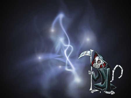 Dead Monkey - wepon, grim reaper, monkey, death, skeleton, magic, bright lights