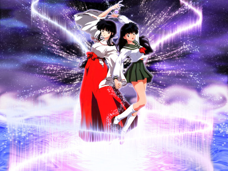 Kikyo and Kagome - priest, kagome, anime girl, inuyasha, anime, kikyo, light, female, girl, cute