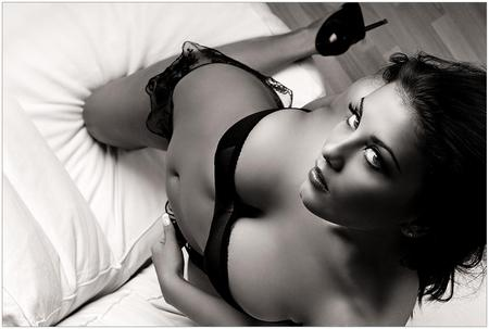 lost innocence - lovely, sexy, woman, photograph, hot, pillow, black and white
