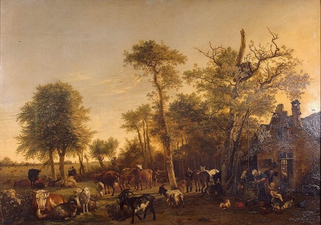 THE FARM - farmers, chickens, cows, goats, trees, painting