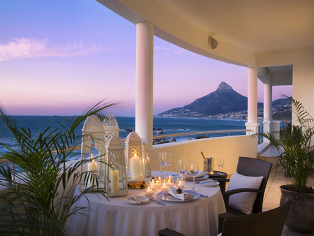 Romantic dinner - dinner, cape town, balcony, sea, hotel, mountain, view, 12