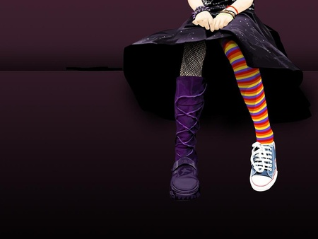 PuNkKY LeGSS!! - clothes, mismatch, stripes, socks, black, punk, goth, girl, purple, fashion