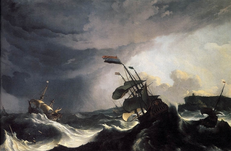 Ships in Distress in a Raging Storm - ships, painting, distress, raging, storm