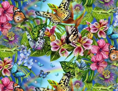 FLOWERS AND BUTTERFLIES - flowers, colurful, butterflies, pretty, wallpaper