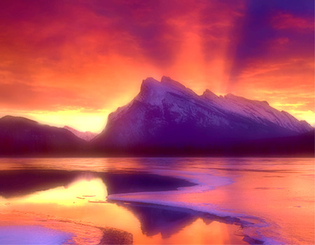 Fire and Ice - landscape, mountain, sunset, lake