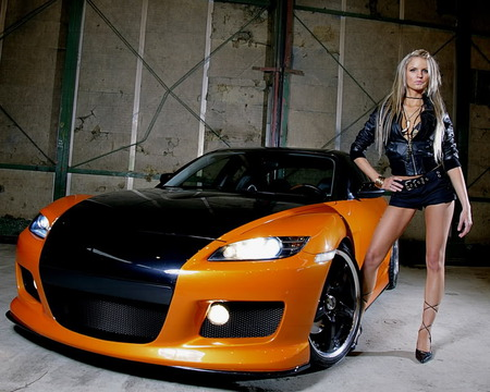 Cool Car-Hot Model - black, sexy, babe, orange car