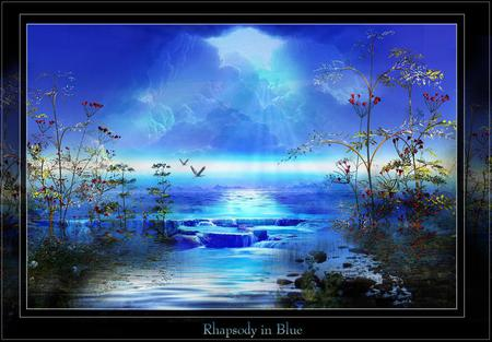 Phapsody in Blue - art, water, rocks, night, blue, flowers, black, birds, clouds, river, animals, sky, waterfall, nature