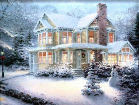 Peaceful Christmas / Ruhige Weihnacht 1 - cold, snow, holiday, winter house, christmas, winter, holidays, feast, snowman, silent, merry christmas, xmas, x-mas