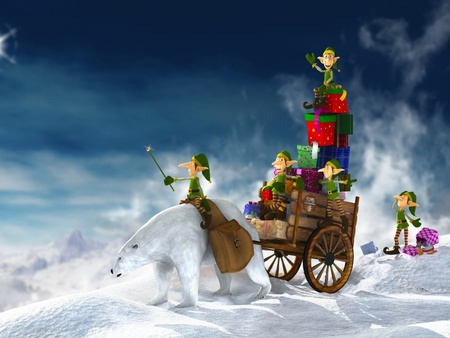 Christmas Delivery - holidays, 3d and cg, its so cool, wds, xmas, x-mas, cold, eleven, feast, widescreen, christmas, graphics, fun, winter, 3d, merry christmas, funny