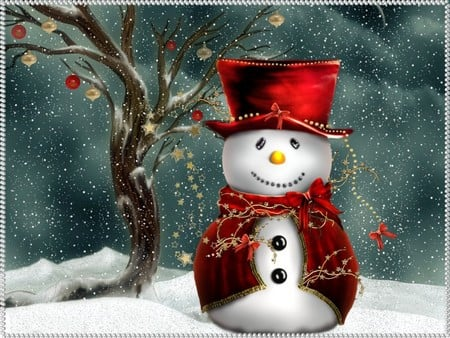 Festive snowman / Festlicher Schneemann - cute snowman, christmas, 3d and cg, red, christmas snowman, winter, xmas, x-mas, snowey, love, feast, snowman, its so cool, cold, merry christmas, 3d, 3dandcg, cool, snow, festive snow man, holidays
