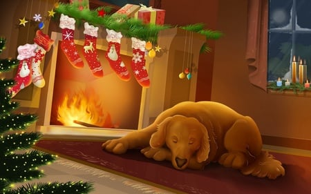 Silent Night  (WDS) - cold, christmas, fireplace, dog, security, holidays, feast, widescreen, pet, merry christmas, x-mas, lovely xmas scene, winter, graphics, comfort, wds, xmas