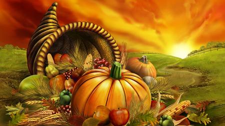 Thanksgiving Day / Erntedankfest - autumn, cornucopia, 3d and cg, halloween, richness, colors, sun, pumpkin, orange, graphics, thanksgiving
