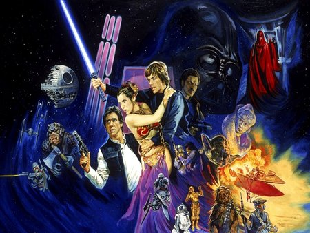 Return of the Jedi  - art, aliens, darth vader, sci - fi, fiction, star wars, cinema, return of the jedi, adventure, george lucas, epic, painting, movies, mythical, jedi knight
