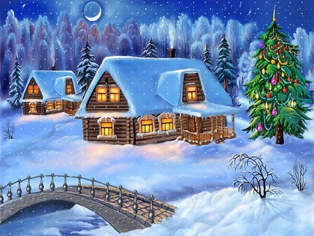 Peaceful Christmas night in a log cabin. - holidays, silent, christmas, graphics, xmas, winter, cold