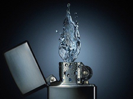 Fire and Water 1 - flame, match, water, cool, 3d, hot, zippo, fire, burn, blu, fire and water, lighter