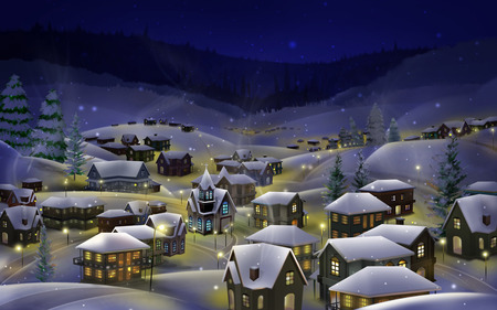 Hibernal snow - christmas, widescreen, winter, 3d and cg, cold, xmas, holidays