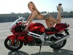 Model On Aprilia Bike