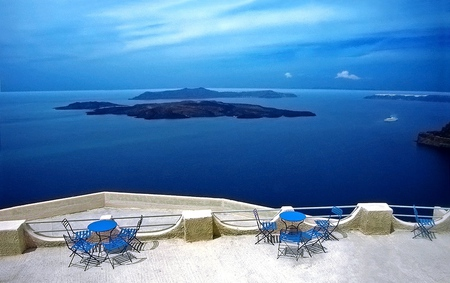 My Country - blue, white, sky, greek, balconi, islands, sea, view, greece