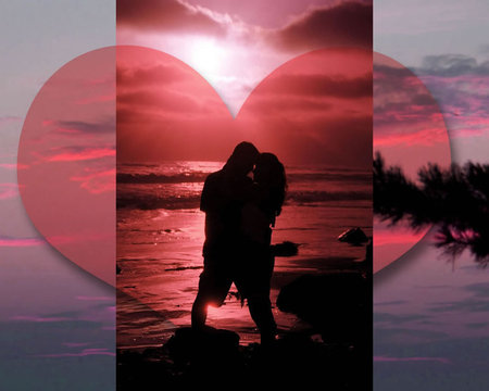 Sunset Romance - valentines, lovers, love romance, couples, heart, sunset