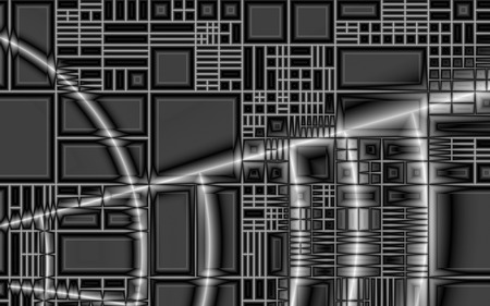 Steel Tech - grayscale, metal, steel, boxes, black and white, technical, squares, fractals, grid, tech