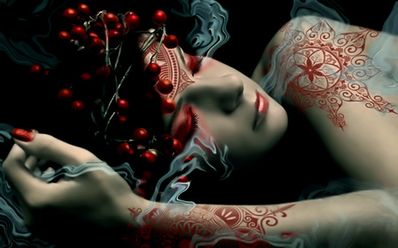 Beautiful Dreamer - girls, photography, face, other, abstract, red, cute, sweet, colours, woman, female, dreams, she, sleeping, dreamer, nice, hand, lips, life, 3d, smoke, beauty, beautiful, lovely, tattoo, fantasy, girl, sleepy, black, people