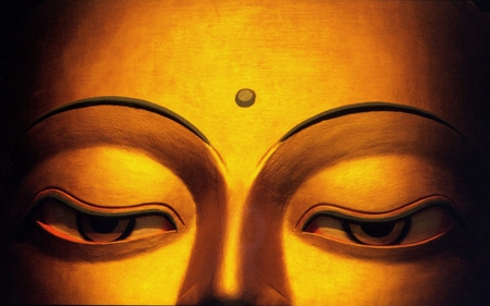 Eyes of Buddha - dreamy, zen, religiously, buddha, religious, yellow, beautiful, prayer, spiritual, mystic, gold, face, tibet, light, lovely, peace, spirit, buddhism, cool, peaceful, eyes, god, meditation