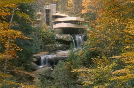 Fallingwater by Frank Lloyd Wright - home, frank lloyd wright, waterfall, autumn