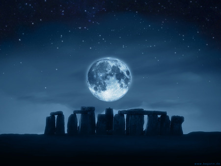 Full Moon - mysterious, blue, sky, architecture, stone, ancient, mythical, magical, full moon