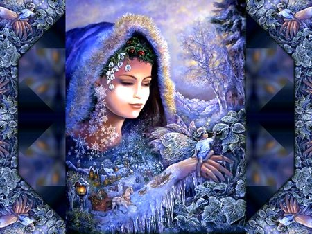 WINTER SPRITES - indian princess, winter, blue, abstract, fantasy, fairy