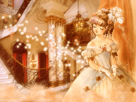 The Gilded Gala - pretty, dress, goddess, beautiful, ballroom, woman, women, ball, nice, gold, anime, party, hot, beauty, anime girl, room, light, female, sexy, building, cute, girl, flower, lady, princess, maiden