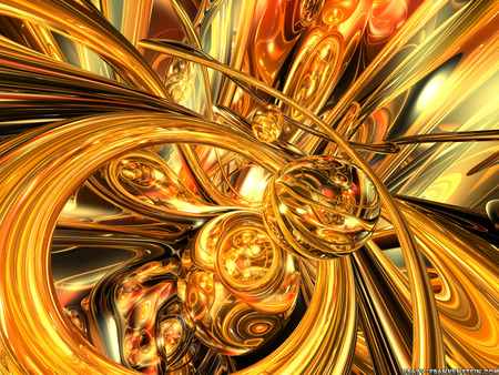 3D Abstract - 3d, gold, abstract