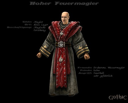 Gothic 1 - armor, fantasy, fire mage, 3d and cg, graphics, gothic 1, rpg