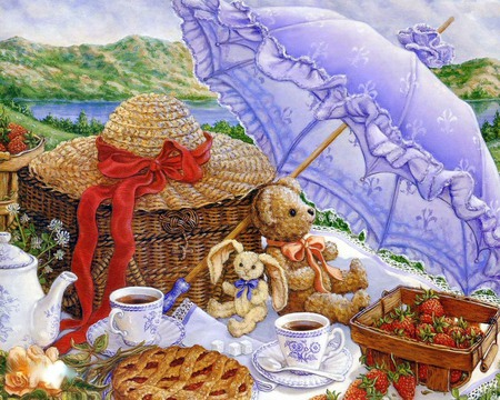 Parasol Picnic - hat, tea, food, picnic, pie, teacups, strawberries, bonnet, purple, teddy bear, umbrella, teapot, mountains, parasol, rabbit