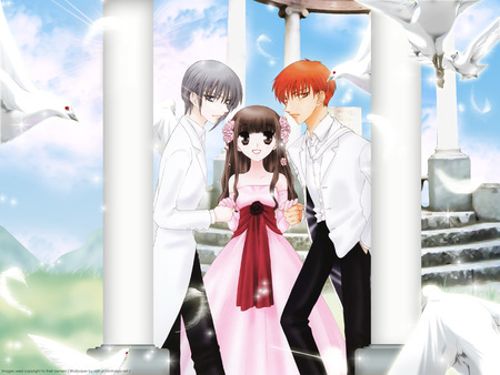 Always with me - tohru, basket, yuki, fruits, kyo